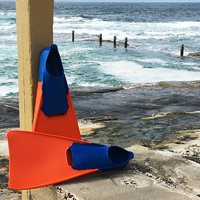 Long Blade Swim Fins Orange Blue